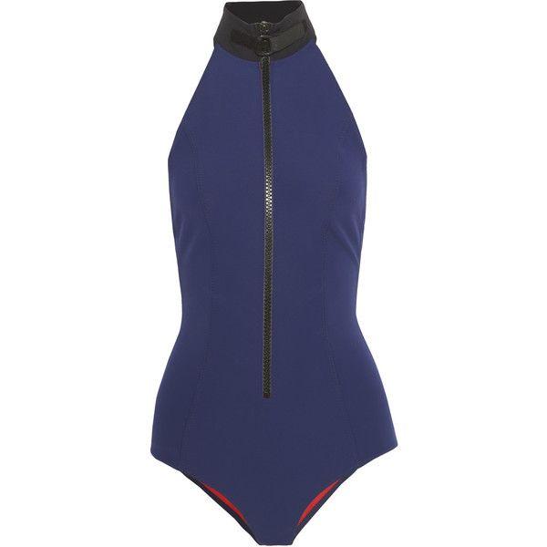 Lisa Marie Fernandez The Lisa Marie bonded halterneck swimsuit (705 BRL) ❤ liked on Polyvore featuring swimwear, one-piece swimsuits, swimsuits, bikini, beachwear, bodysuits, navy, halter swimsuit, zipper swimsuit and halter-top one-piece swimsuits