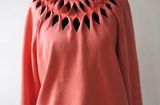 Veja o passo a passo de como fazer uma linda customização com recortes na blusa de moletom para usar no inverno