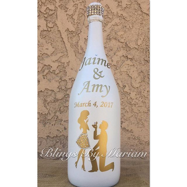 Custom champagne bottle that was made for @taguhi_tracy_oganyan sisters @amys_world engagement party this weekend.  He asked and She Said YES!!❤ Once again Congratulations to you both Jaime and Amy!!  For more details contact 818-732-1129 #event #eventplanner #eventplanning #custom #crystal #crystalized #crystalizing #anylogo #anysize #anycolor #anystyle #anytheme #anyoccasion #anydesign #Champagne #champagnebottle #champagnebottles #birthday #proposal #heasked #shesaidyes  #engagement #love…