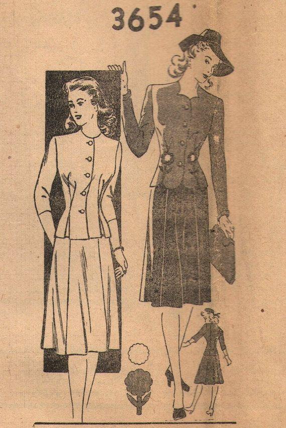 Vintage 1940s postorder naaien patroon 3654 - missers pak maat 14 voor buste grootte 32
