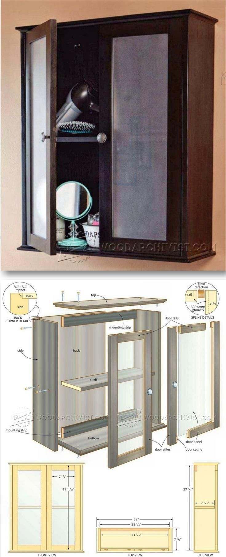 Bathroom Wall Cabinet Plans - Furniture Plans and Projects | WoodArchivist.com