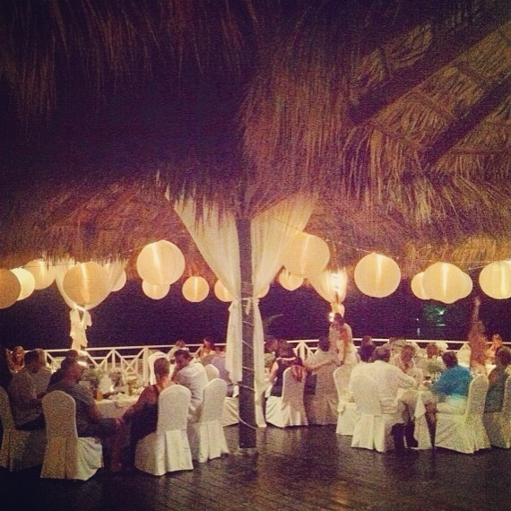 Reception setting at our beach wedding in Jamaica Grand