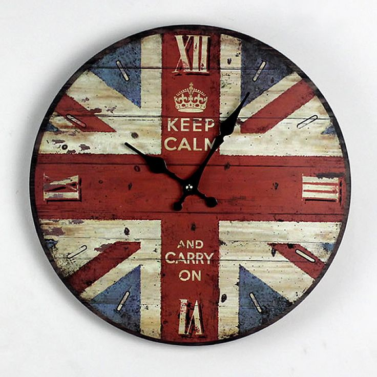 """""""Keep Calm and Carry On"""" British Flag Wood Wall Clock"""