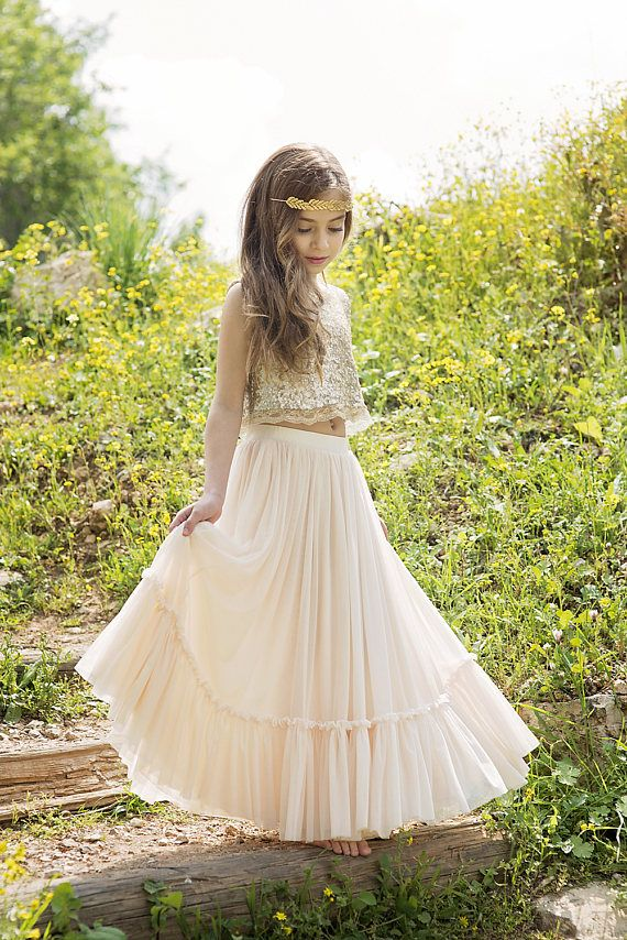 Gold Boho-chic Flower Girl Dress//Junior Bridesmaid