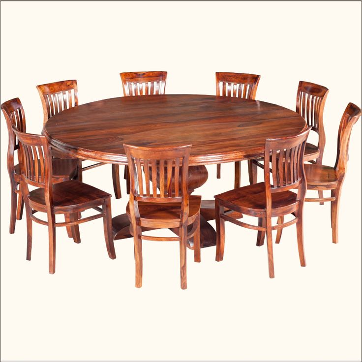 Rustic Solid Wood Large Round Dining Table & Chair Set | The black ...