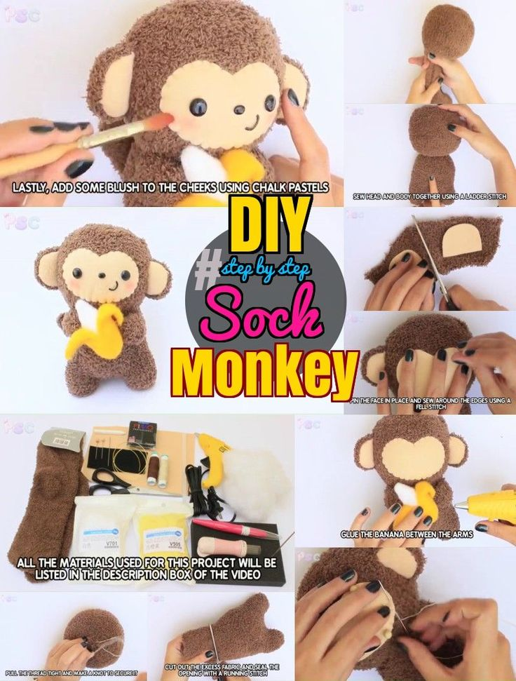 DIY Sock Animals:#50 Steps How to Make an Adorable Sock Monkey Toy. Step by step sock monkey craft.