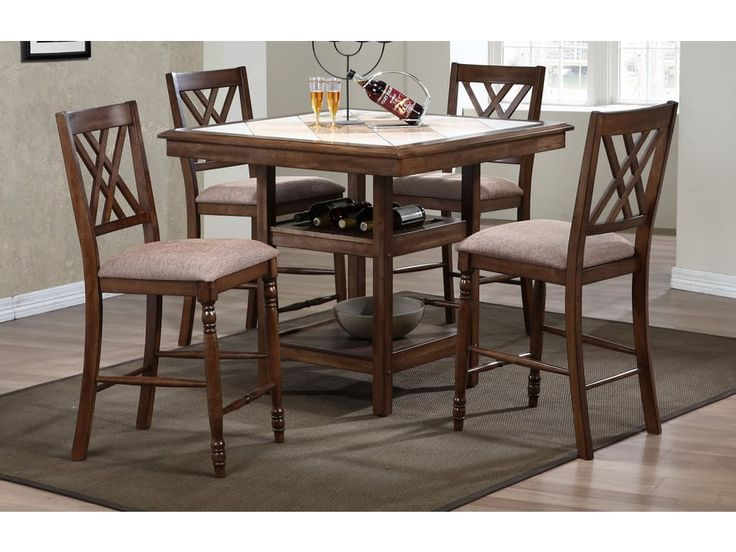 Winners Only Dining Room 40 Inches Tile Top Tall Table With Shelves  DFT14040M   Patrick Furniture