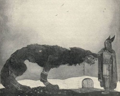 Norse mythology - Fenrir (or Fenris) is a gigantic and terrible monster in the shape of a wolf. He is the eldest child of Loki and the giantess Angrboda.