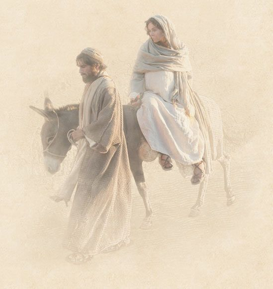 Mary and Joseph travel to Bethlehem: