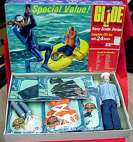 Vintage GIJoe Navy Scuba Series Action Figure Doll Toy Playset
