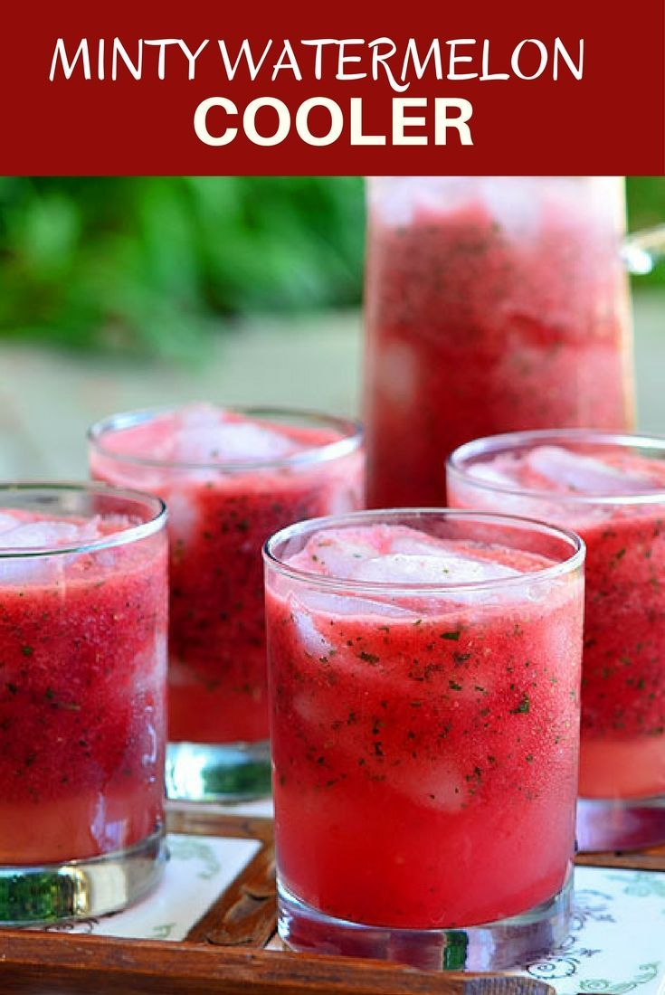 Minty Watermelon Cooler made with fresh watermelon, lime juice, and mint is a delicious way to beat the heat! A few splashes of vodka or rum easily ramp it up into a grown-up cocktail!