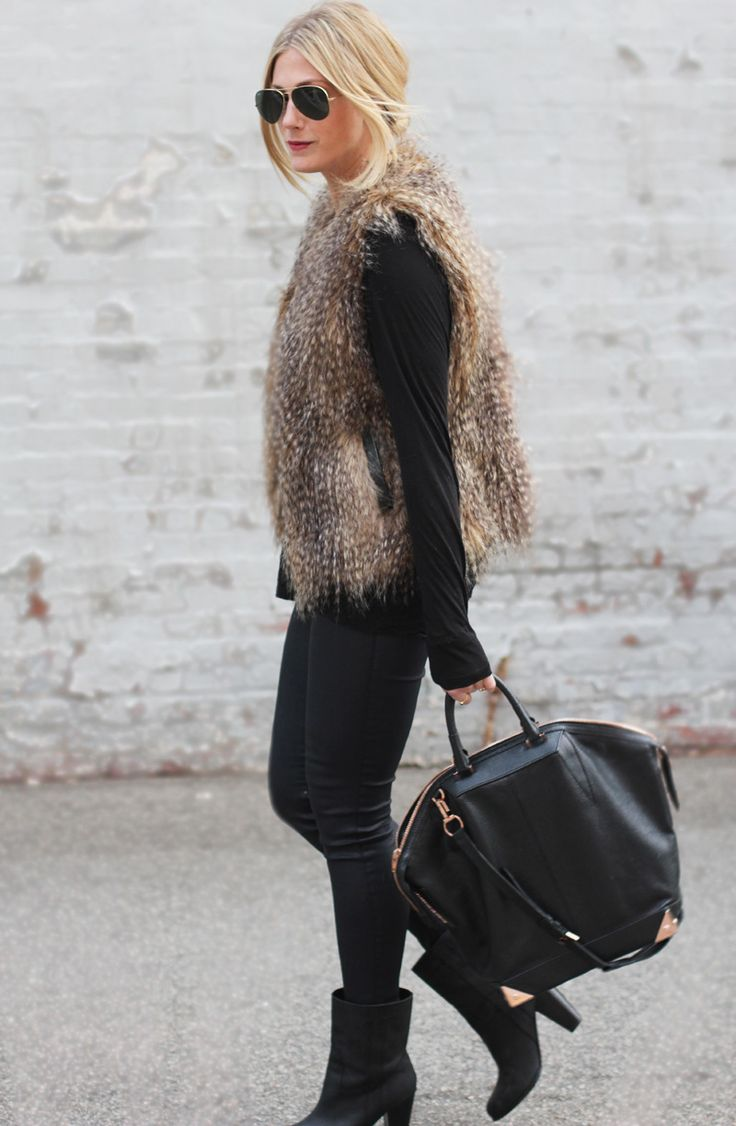 Faux fur vest on Devon Rachel