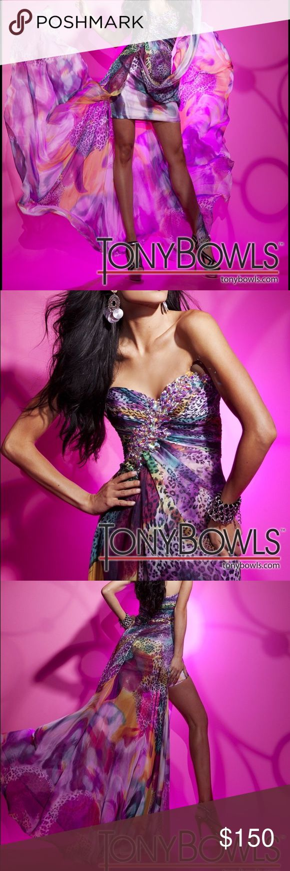 Tony Bowls prom dress Multicolor high-low prom dress by Tony Bowls. Worn once. Perfect Condition. Tony Bowls Dresses Prom
