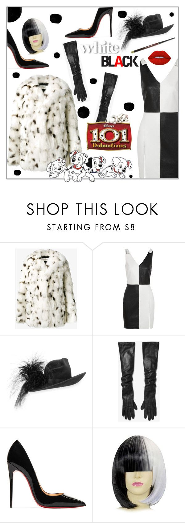 """""""Cruella Deville Halloween costume"""" by styledbytrell ❤ liked on Polyvore featuring Yves Saint Laurent, Philip Treacy, Michael Kors, Disney, Christian Louboutin and Lime Crime"""