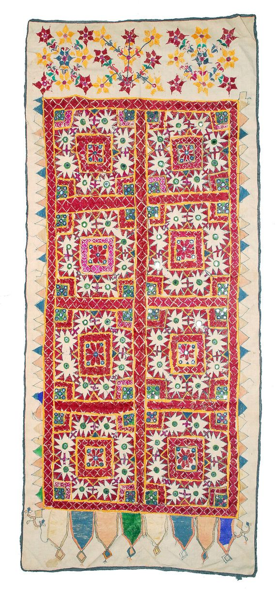Embroidered textile tapestry Rajastan - Kutch, India. BANJARA mirrors gypsy handmade hand sewing tribal Gujarat Indian textile.