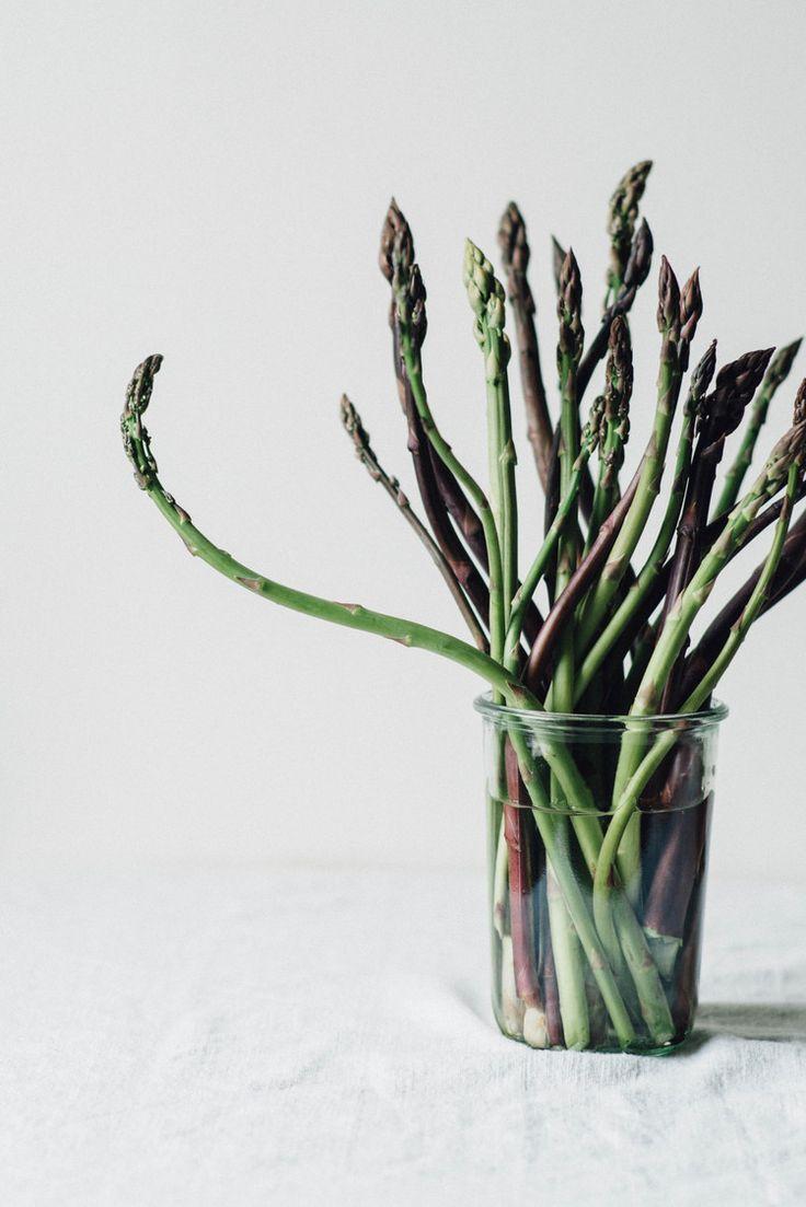 asparagus, pea + broccoli rabe sauté over a chickpea + chive mash
