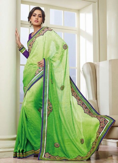 Dazzling #Green & #Blue Jacquard Based #Saree