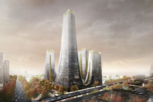 The 'Cradle Towers' of Zhengzhou is composed of 5 mixed-use towers, housing residential facilities, offices, and a hotel.