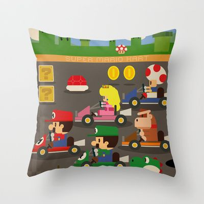 mario kart Throw Pillow by Danvinci