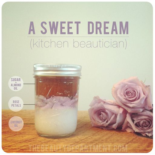 Homemade Sweet Dream Body Scrub: coconut oil, raw cane sugar, almond or jojoba oil and one fragrant rose (sterling silver roses are the most fragrant).