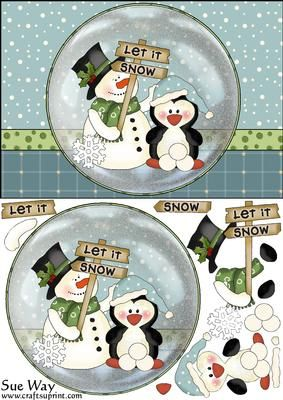 Let it Snow Card Front with Snow Globe Topper and Decoupage on Craftsuprint designed by Sue Way - A snowy card front with a snow globe topper of a snow man