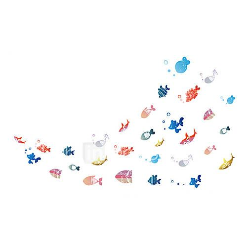 Wall Stickers Wall Decals Style Cartoon Happy Fish PVC Wall Stickers 5703059 2017 – $5.99