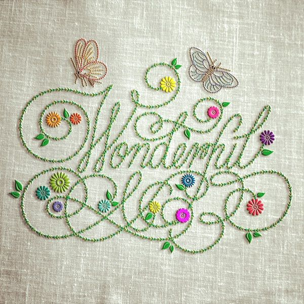 Love the lightness and exuberance...very well done. Wonderful (Embroidered) by C. Lee, via Behance