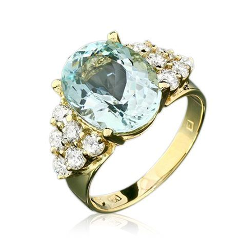 1.1CTW Natural 12.5 x 10mm Aquamarine, Diamond 14K Gold Ring