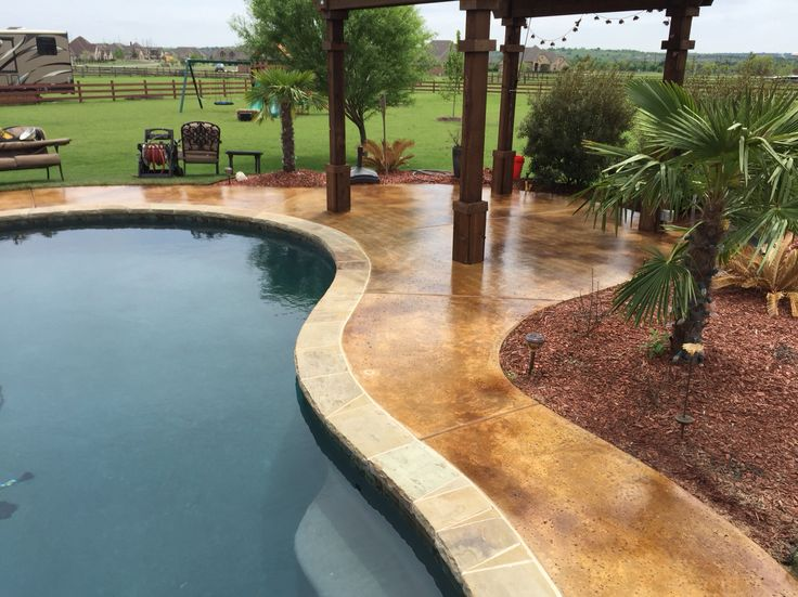 Two Color Acid Stain To Blend Water Spots Around Salt Finish. Concrete  StainingConcrete PoolConcrete ProjectsStained ...