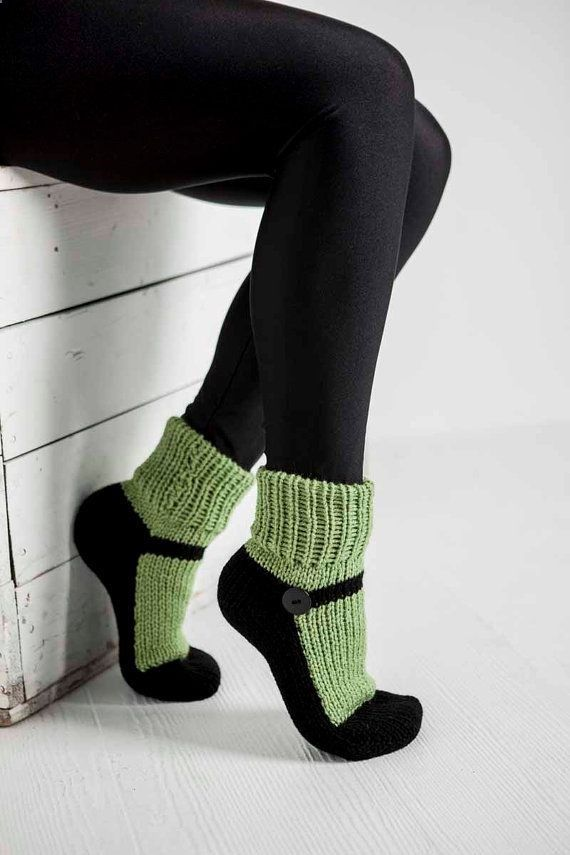 Knit Slipper Sock Adult Maryjane Slipper Sox Green House Slippers Womens Slippers Home Slippers Black House Shoes Home Shoes on Etsy, $25.00