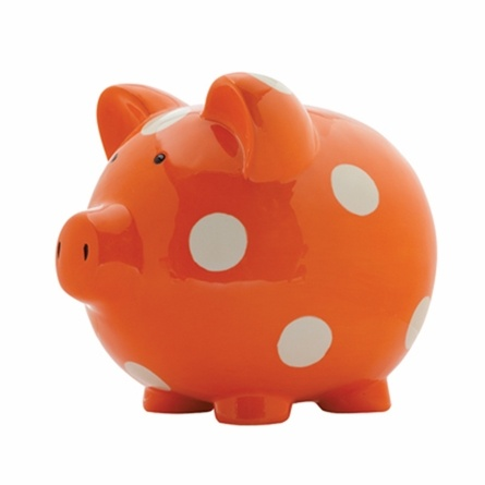 Adorable Polka Dot Piggy Bank - great gift idea for kids! $29.00