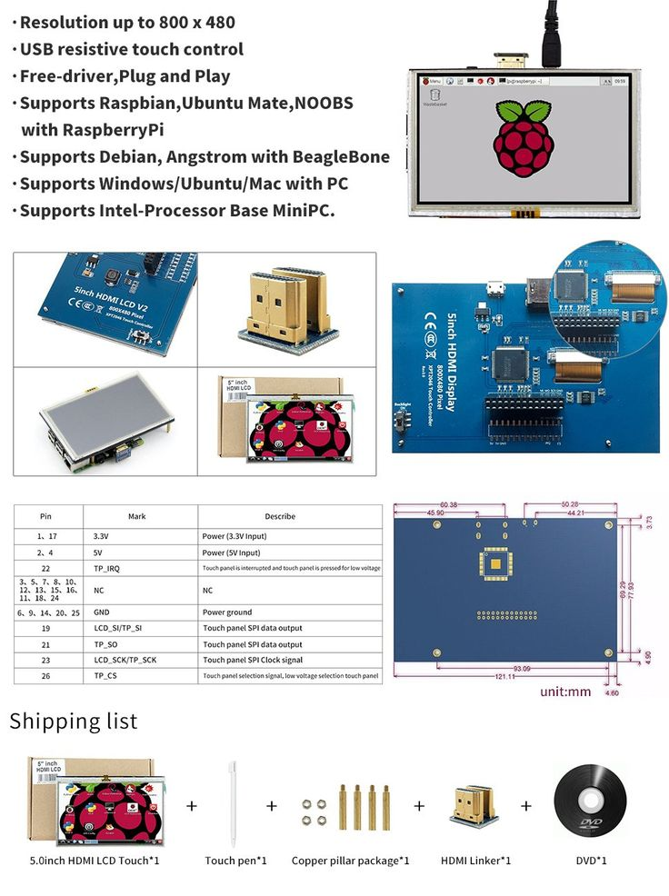 LANDZO 5 Inch Touch Display for Raspberry pi 3 B and Banana Pi with HDMI Connector and Touch Pen: Amazon.ca: Electronics