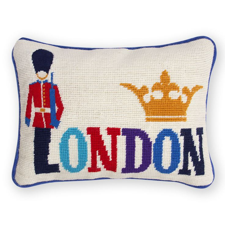London Needlepoint Throw Pillow