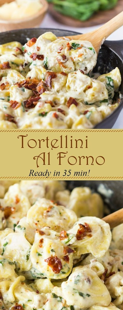 This Tortellini Al Forno features stuffed tortellini tossed in a rich and creamy garlic cheese sauce and topped with crumbled bacon.