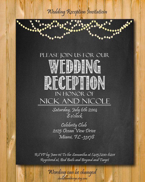 Printable Wedding Reception Invitation By Chalkboarddesign 1499