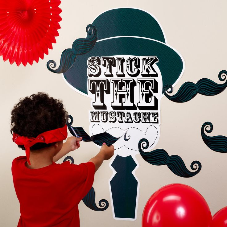 Kids get blindfolded (blindfold not included) and try to place the moustache closest to the indicated spot.  Up to 10 can play.  Simply apply to wall (or most smooth, flat surfaces) and let the game begin.  Made of heavy-duty vinyl.  Application and removal instructions are included.