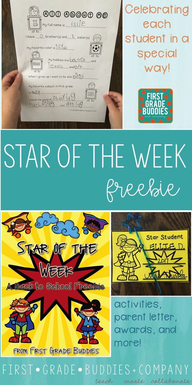 FREE Star of the Week Packet - Use this 12 page freebie with your  Kindergarten [ 1472 x 736 Pixel ]