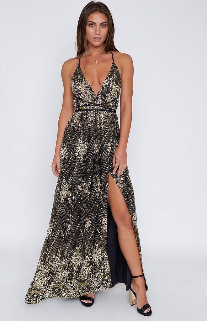 Jasmine Glitter Formal Dress Black - XXS