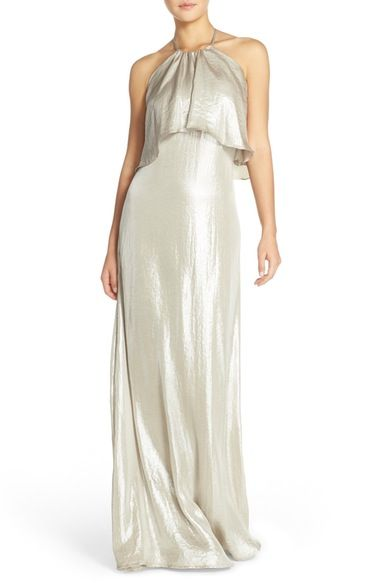 nouvelle AMSALE 'Lilith' Ruffle Bib Liquid Chiffon Halter Gown available at #Nordstrom