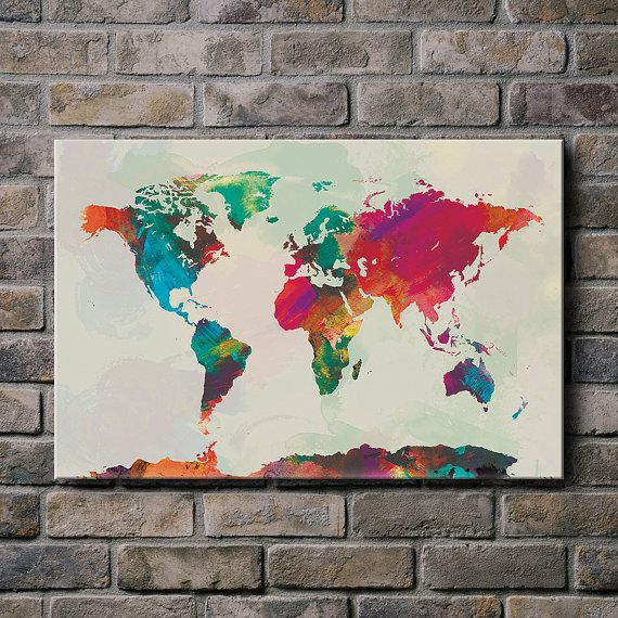 Watercolor World Map Canvas Print By Sunnychampagne On Etsy