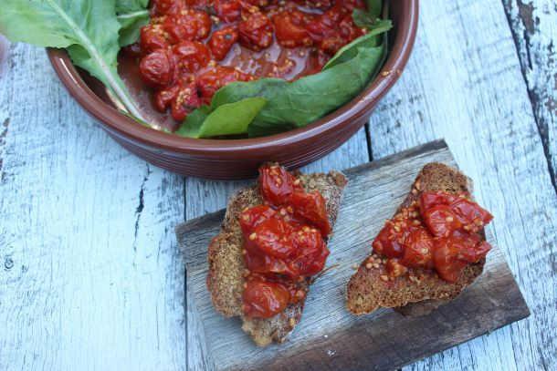 Sticky Roasted Cherry Tomatoes with Herbs   The Quirk and the Cool