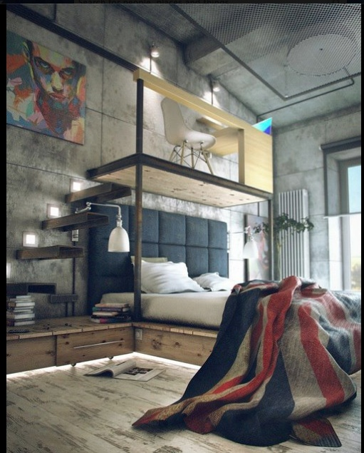Industrial perfection x: Beds Rooms, Above Beds, Bedrooms Design, Loft Style, Loft Spaces, Mezzanine Offices, Bedrooms Decor, Industrial Loft, Union Jack