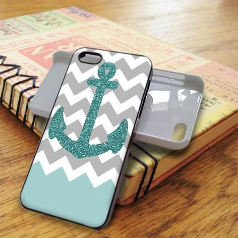 Chevron Glitter Blue Anchor iPhone 5C Case