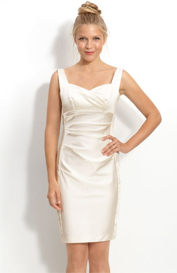 Another potential rehearsal dinner dress - Donna Morgan Stretch Satin Sheath Dress available at Nordstrom