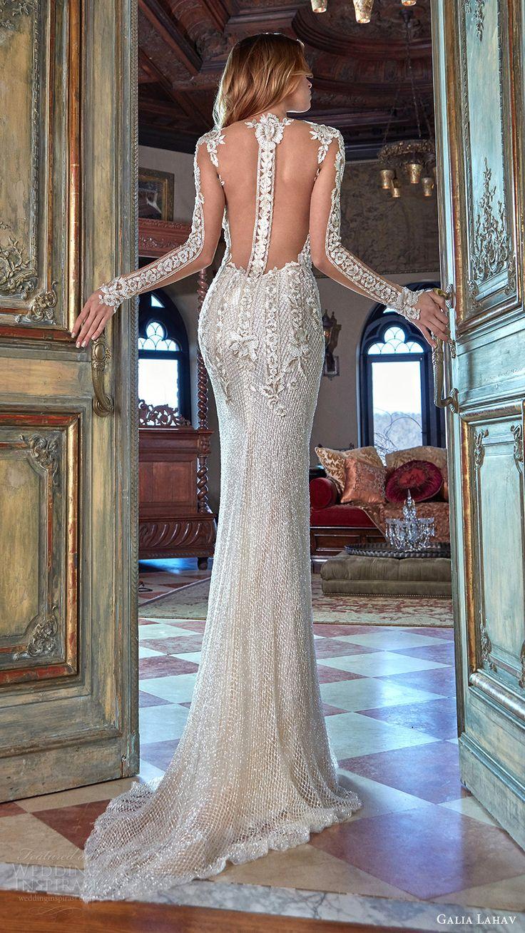 Spring 2017 Illusion Long Sleeves Deep V Neck Beaded Sheath Wedding Dress