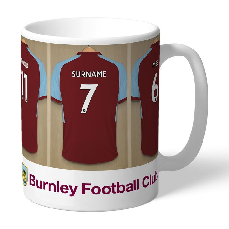 One of our best-selling Burnley FC gifts of all time, this personalised dressing room mug is the ultimate must-have for any Burnley FC fan. Fully licensed and approved by Burnley FC themselves, you can be assured of quality and authenticity. Our unique design allows your selected name (max 12 characters) to be merged onto the centre dressing room shirt, exactly matching those of the other Burnley FC players. Choose the number to go on the shirt; perfect for birthdays and anniversaries…