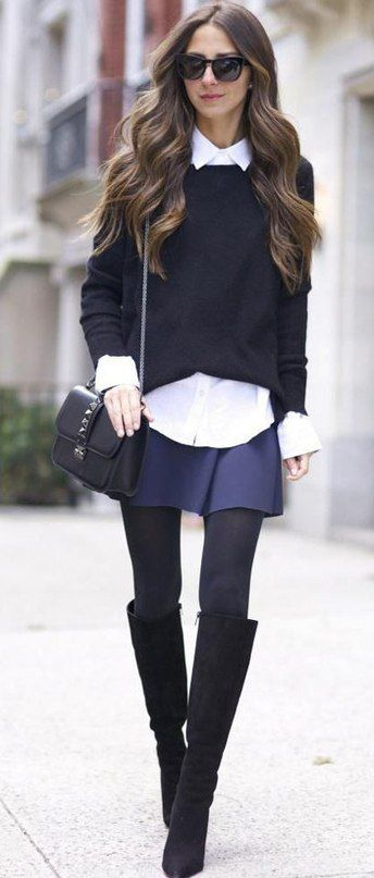 Blue sweater over a white Oxford shirt, blue skater skirt, tights and OTK black boots