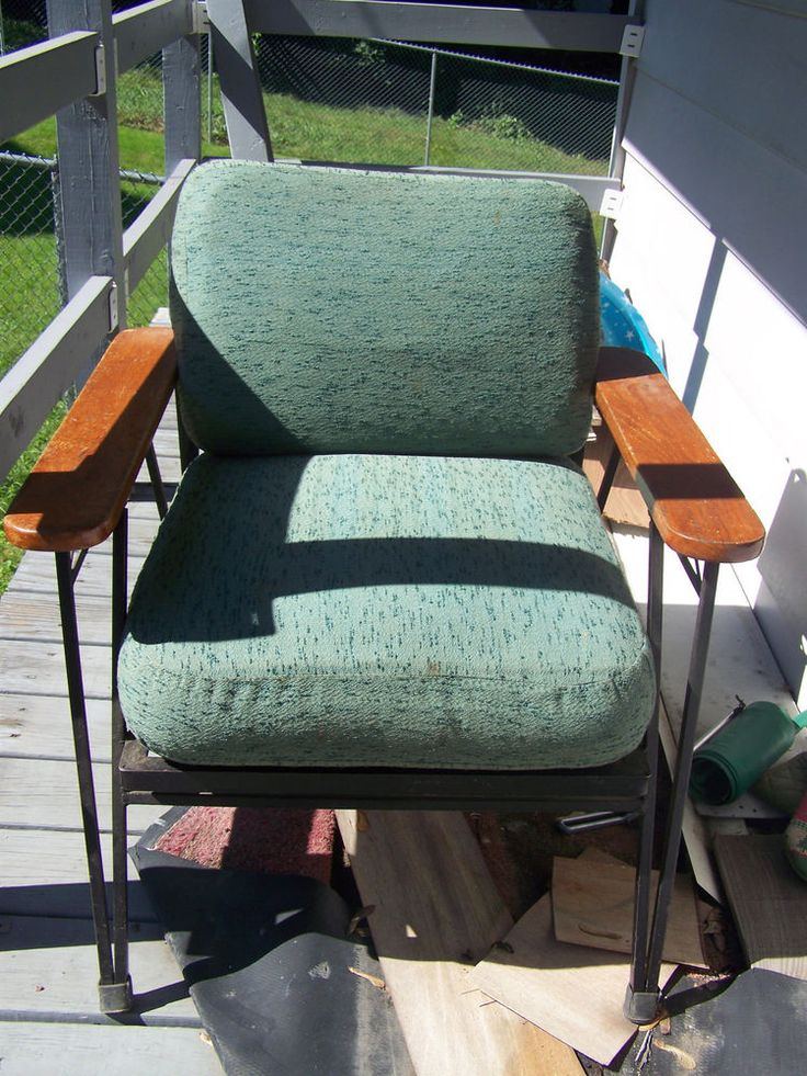 Vintage Wrought Iron Furniture Part - 50: VINTAGE WROUGHT IRON CHAIR WITH WOOD ARMS AND REVERSABLE CUSHIONS