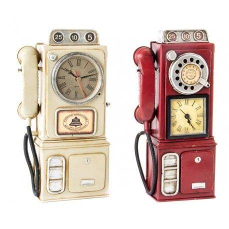 Set 2 relojes pared metal teléfonos decorativos
