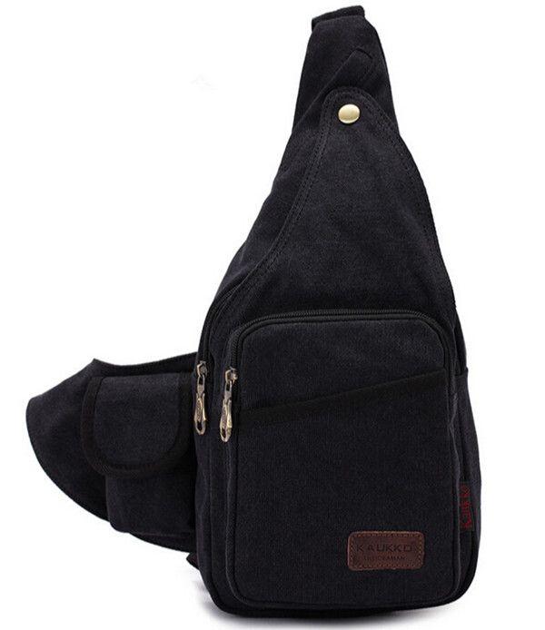 KAUKKO Vintage Men Women Sport Chest Canvas Crossbody Bags Messenger Bags
